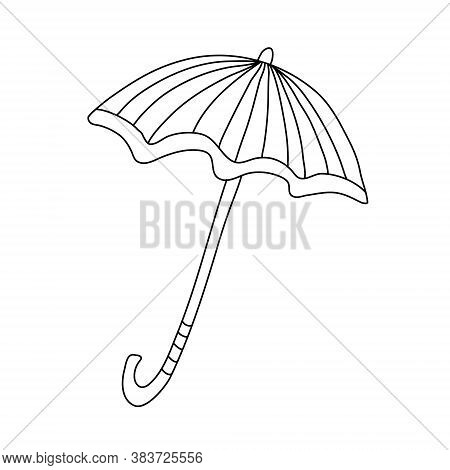 Open Striped Umbrella In Doodle Style. Isolated Outline. Hand Drawn Vector Illustration In Black Ink