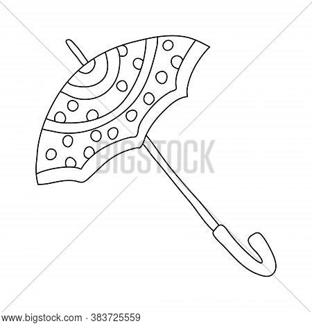 Open Umbrella Decorated With Polka Dots In Doodle Style. Isolated Outline. Hand Drawn Vector Illustr