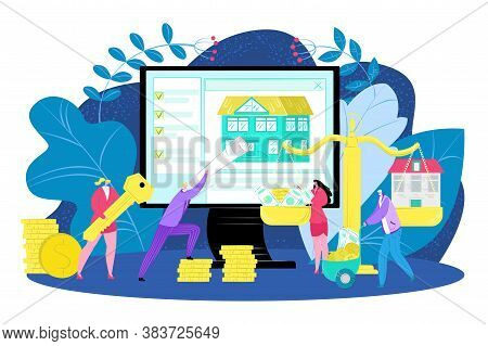 Buying New House Concept, Real Estate Investment Vector Illustration. Home Loan, Rent, Buying Proper