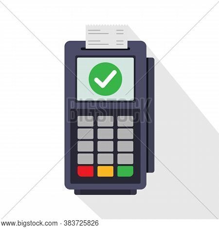 Using Pos Terminal Concept. . Credit Card Payment. Vector Illustration In Flat Style. Transaction Ap