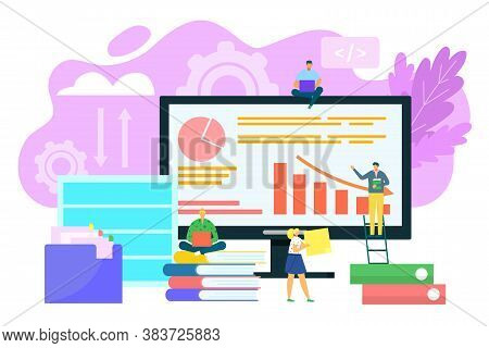 Database Concept, Big Data Architecture, Data Technology And Business Analytics Vector Illustration.