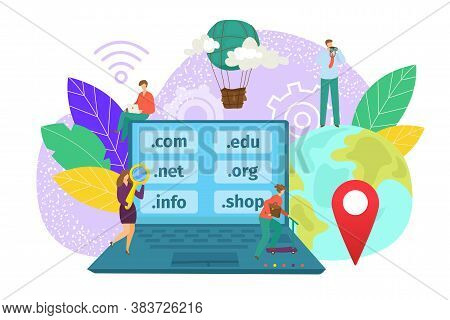 Domain Web Name Registration Concept, Website Hosting Icons In Laptop And Network People, Vector Ill