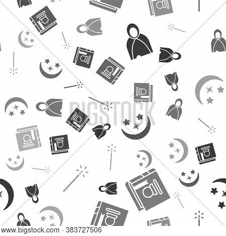 Set Mantle, Cloak, Cape, Ancient Magic Book, Moon And Stars And Magic Wand On Seamless Pattern. Vect