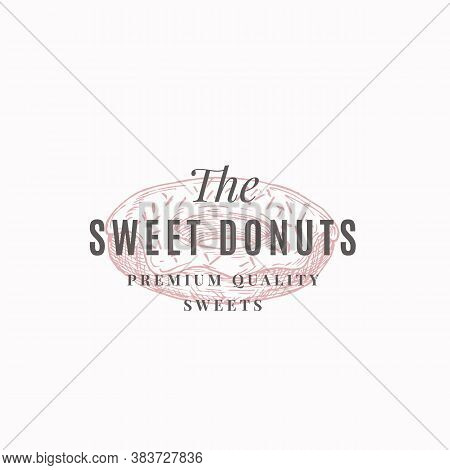 Premium Quality Confectionary Abstract Sign, Symbol Or Logo Template. Hand Drawn Donut And Typograph