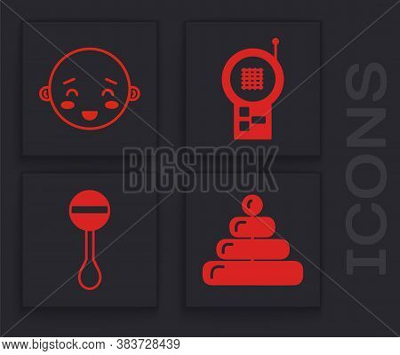 Set Pyramid Toy, Happy Little Boy Head, Baby Monitor Walkie Talkie And Rattle Baby Toy Icon. Vector