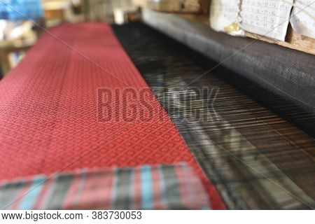 Tradition Ancient Art Of Weaving In Thailand. Weaving Is An Ancient Handicraf To Produce Fabric From