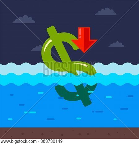 Dollar Is Drowning In Water. The Economic Crisis In The Usa Due To The Coronavirus Pandemic. Flat Ve