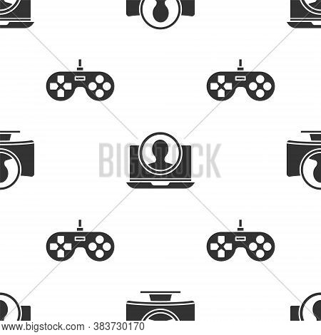 Set Create Account Screen, Create Account Screen And Gamepad On Seamless Pattern. Vector