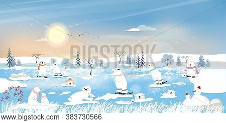 Winter Landscape At Arctic Ocean With White Polar Bear Family Playing Ice Skates And Lying On Ice Ed