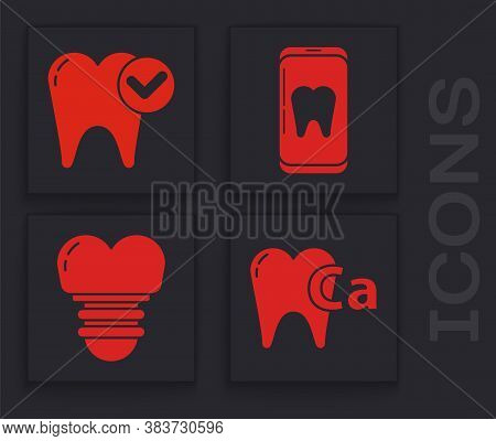 Set Calcium For Tooth, Tooth Whitening Concept, Online Dental Care And Dental Implant Icon. Vector