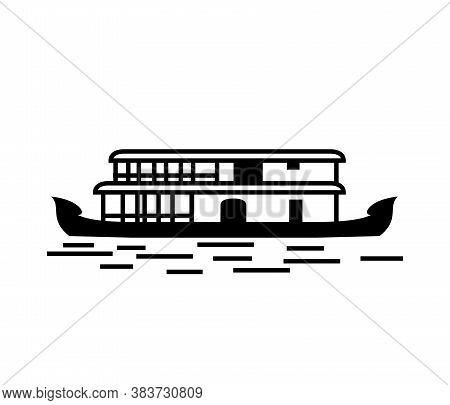 Kerala House Boat In Backwater Black And White Vector Design