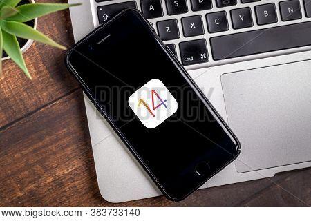 Antalya, Turkey - September 03, 2020.  Iphone With The Logo Of The New Ios 14, Apple's Next Operatin