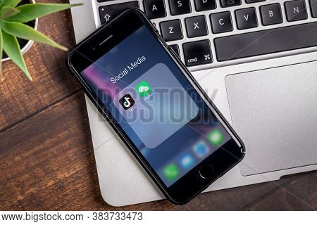 Antalya, Turkey - September 03, 2020. Smart Phone Showing Tiktok And Wechat App Logo.