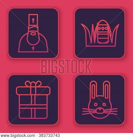 Set Line Priest, Gift Box, Easter Egg And Easter Rabbit. Blue Square Button. Vector