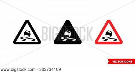 Slippery Pavement Sign Icon Of 3 Types Color, Black And White, Outline. Isolated Vector Sign Symbol.