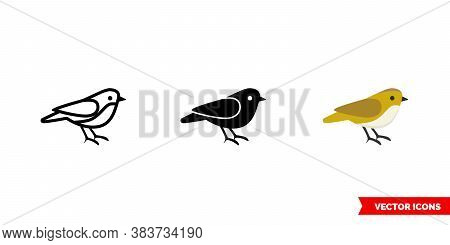 Sparrow Icon Of 3 Types Color, Black And White, Outline. Isolated Vector Sign Symbol.