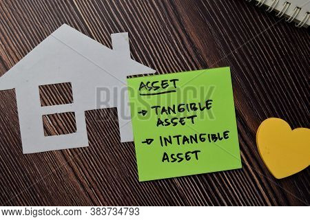 Asset - Tangible Asset And Intangible Asset Write On Sticky Notes Isolated On Wooden Table.