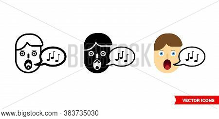 Vocals Icon Of 3 Types Color, Black And White, Outline. Isolated Vector Sign Symbol.