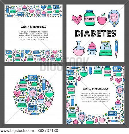 Set Of Cards With Doodle Colored Diabetes Items, Including Insulin Pen, Pump, Tonometer, Blood Drop,