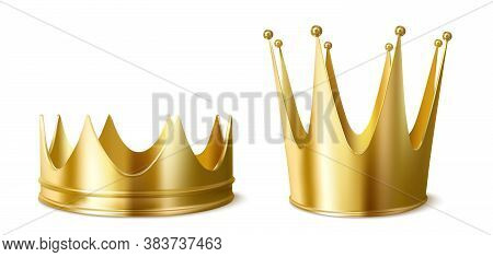 Golden Crowns For King Or Queen, Low And High Crowning Headdress For Monarch Person. Royal Gold Mona