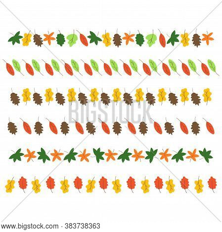 Set Of Autumn Leaves Of Different Trees For Decoration. Horizontal Banners On A White Background. Ma