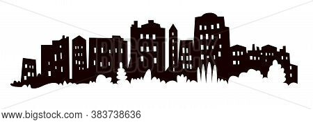 Modern Cityscape Black Silhouette Vector Banner Design. Metropolis Architecture Panoramic Landscape.