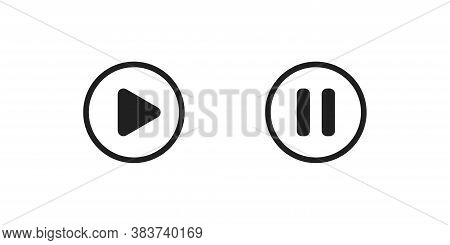 Play And Pause Button Icon Design. Video Player Symbol For App And Web
