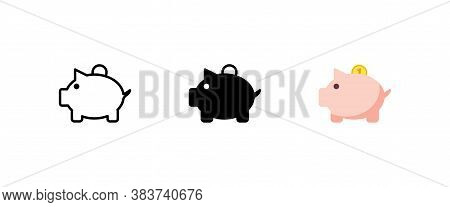 Money Box Vector Icon Set In Flat. Piggybank With Coin. Business And Bank Concept Logo. Money Sign I