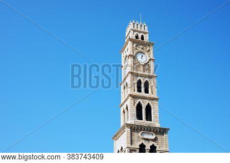 The Clock Tower Of Khan Al-umdan. Acre Israel.