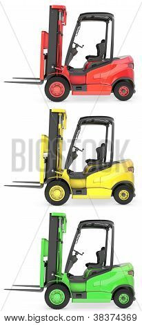Three Fork Lift Trucks Colored As Traffic Lights