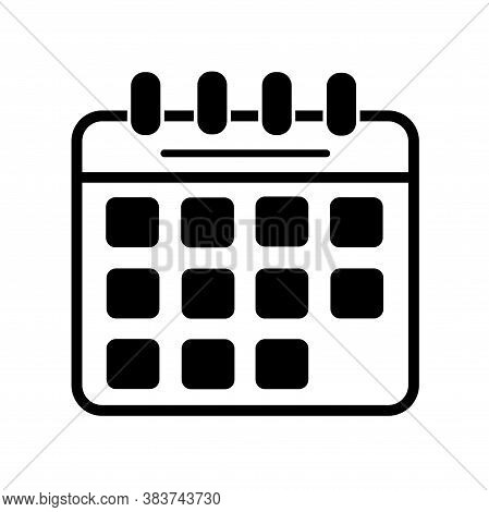 Black Calendar Icon On A White Background. Reminder Of An Important Event. Calendar With Detachable