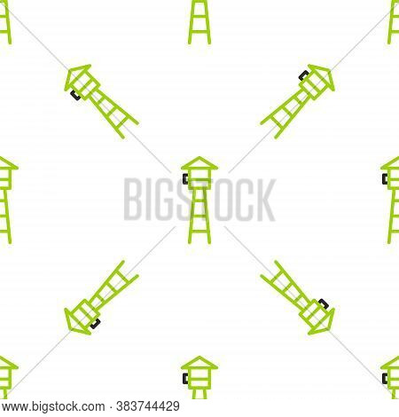 Line Watch Tower Icon Isolated Seamless Pattern On White Background. Prison Tower, Checkpoint, Prote