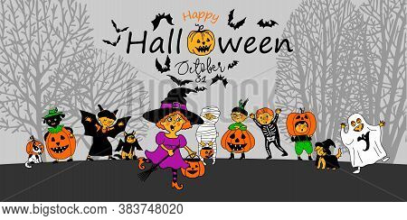 Happy Halloween. Halloween Party. Children Dressed In A Halloween Costume. Banner. Vector. Design Co