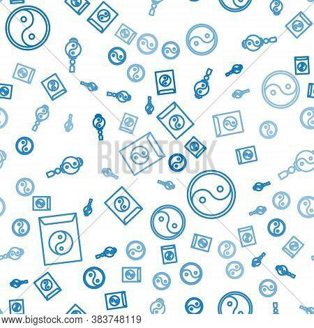 Set Line Yin Yang And Envelope, Yin Yang And Yin Yang On Seamless Pattern. Vector