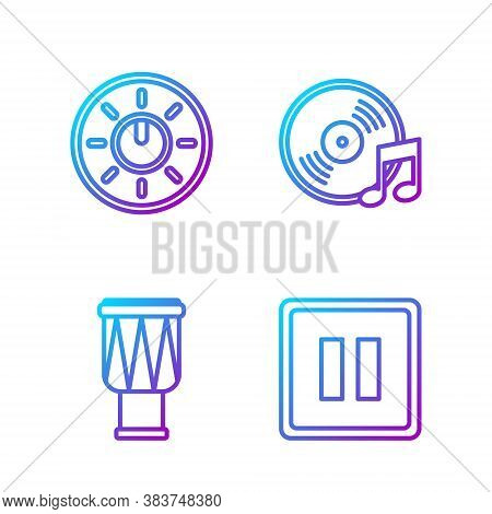 Set Line Pause Button, Drum, Dial Knob Level Technology Settings And Vinyl Disk. Gradient Color Icon