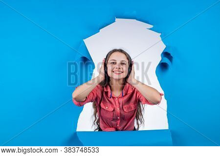 Its Too Loud. Teen Child Listen To Music. Kid Listening Ebook. Concept Of Elearning. Education Onlin