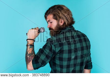 Just Fabulous Hair. Brutal And Rock. Bearded Man Wear Checkered Shirt Singing Song. Male Singer With