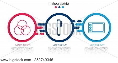 Set Line Rgb And Cmyk Color Mixing, Pen And Graphic Tablet. Business Infographic Template. Vector