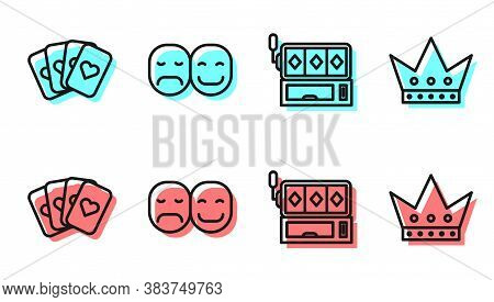 Set Line Slot Machine, Deck Of Playing Cards, Poker Player And King Playing Card Icon. Vector