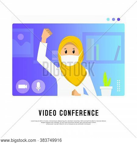 Video Conference Young Hijab Girl Design Illustration Isolated On White Background