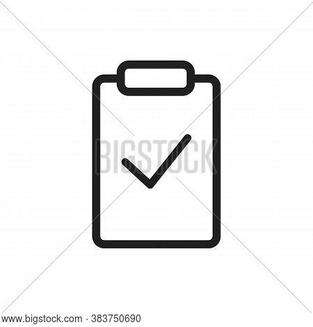 Thin Line Clipboard Icon With Outline Check Mark On It. Agenda Priority Checklist Board Conceptual V