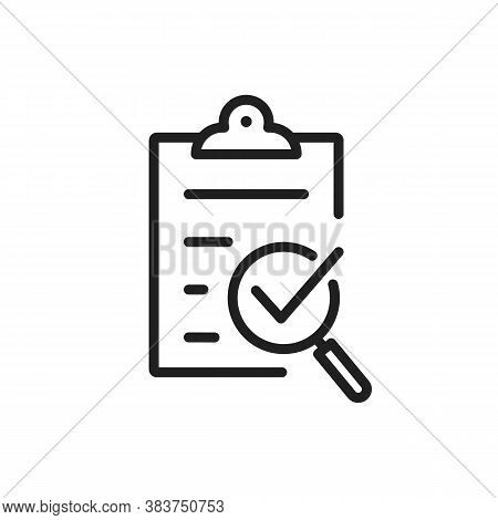 Policy Compliance Icon With Checklist Verification With Loupe. Quality Control Result Check On Paper