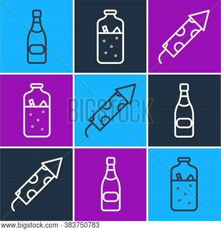 Set Line Champagne Bottle, Firework Rocket And Mulled Wine Icon. Vector