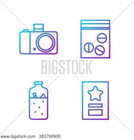 Set Line Greeting Card, Mulled Wine, Photo Camera And Plastic Bag Of Drug. Gradient Color Icons. Vec