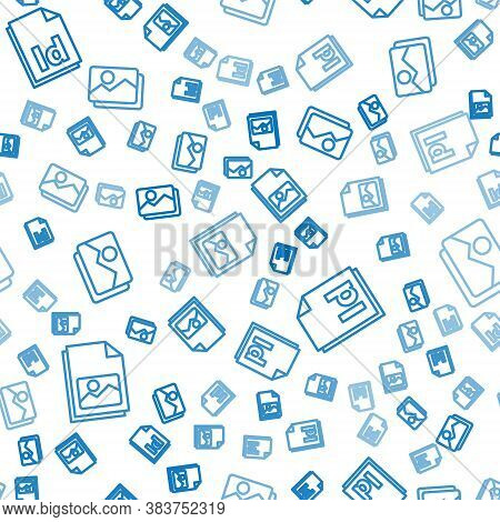Set Line Picture Landscape, Id File Document And Picture Landscape On Seamless Pattern. Vector