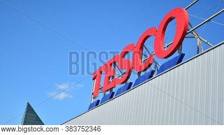 Warsaw, Poland. 3 September 2020. Sign Tesco. Company Signboard Tesco.