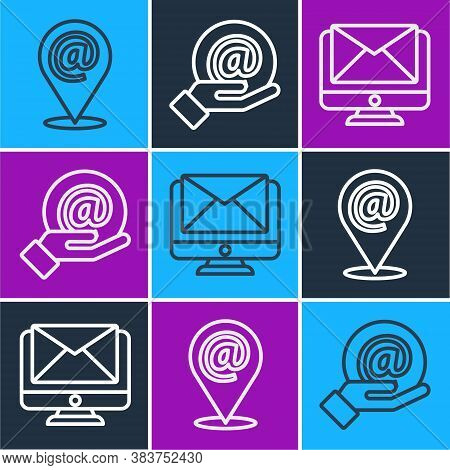 Set Line Location And Mail And E-mail, Monitor And Envelope And Mail And E-mail In Hand Icon. Vector