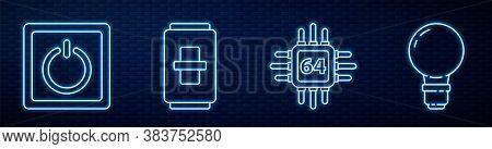 Set Line Processor With Microcircuits Cpu, Electric Light Switch, Electric Light Switch And Light Bu