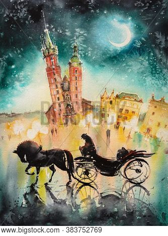 Old Town, Kracow, Poland At Night With Chaise And Mariacki Church In Background. Picture Created Wit