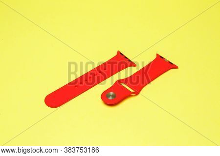 Silikone Strap For Smart Watch Red Color On Yelow Background
